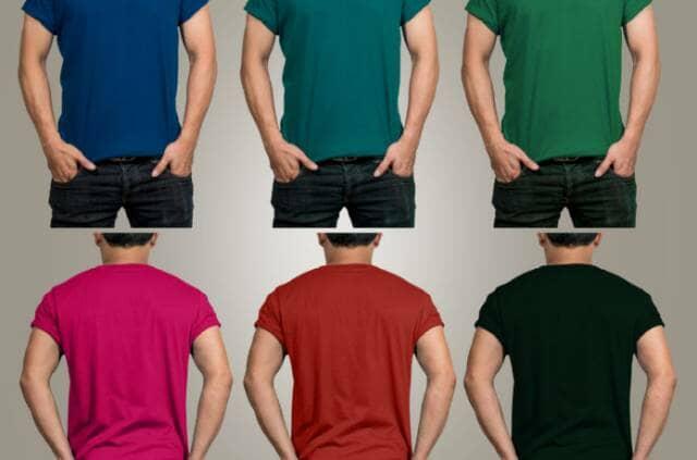 Tシャツを着る男性