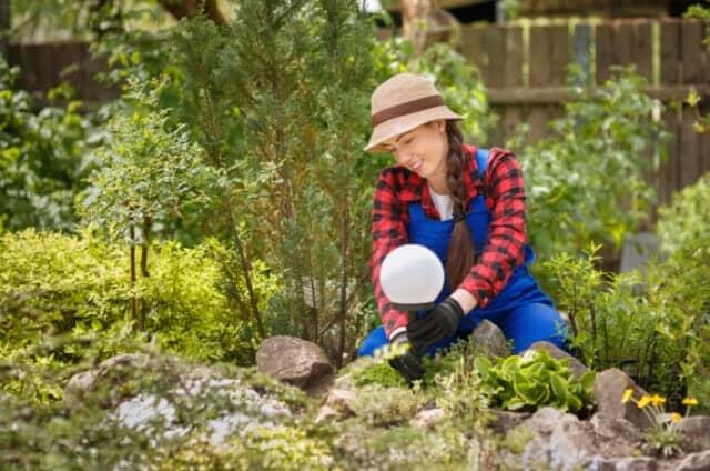 庭にライトを設置する女性
