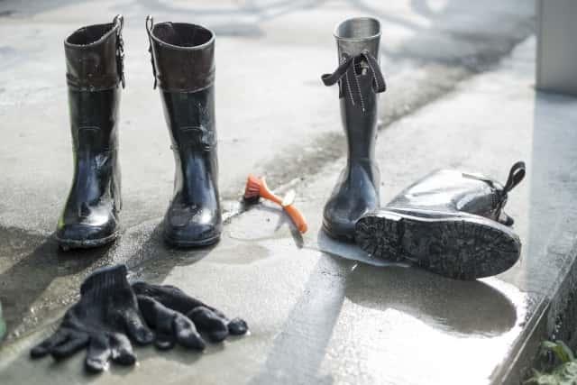 病原菌を持ち込まないために長靴をきれいに洗う