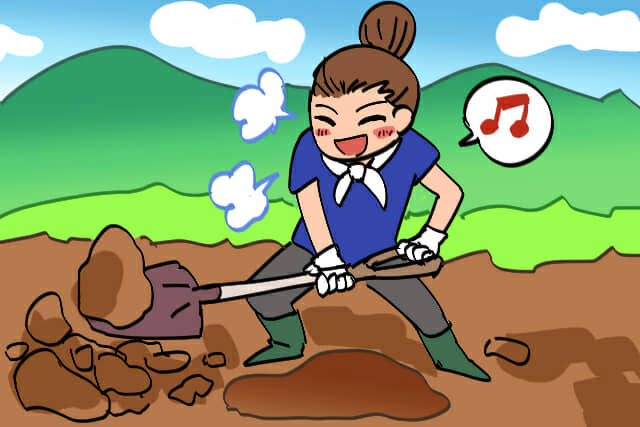 ワクワクしながら土を掘る
