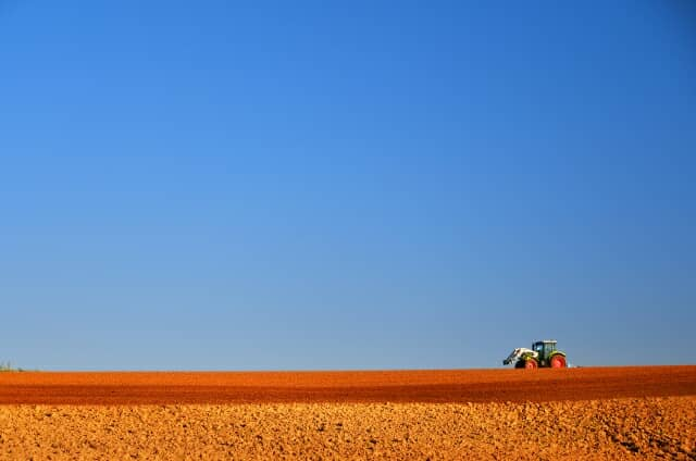 広い畑と空