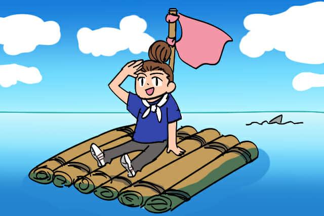 いかだで海に漕ぎ出す女性