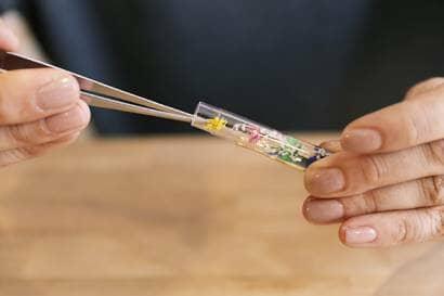 ボールペンに花材を詰める