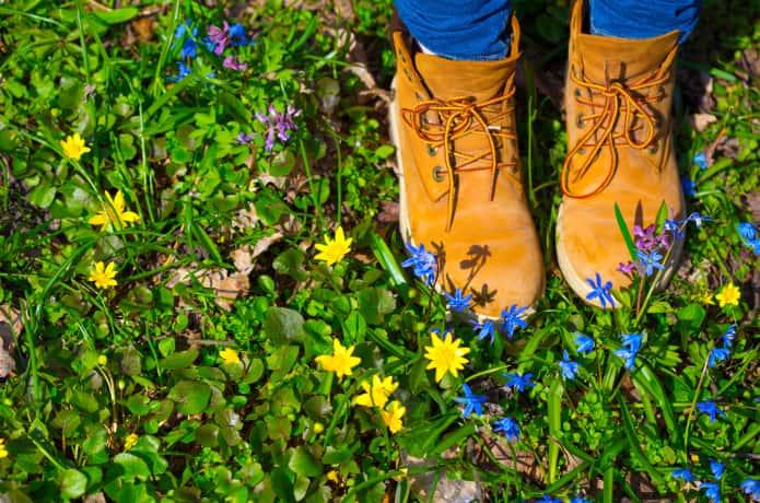 かわいい花とおしゃれなトレッキングシューズ