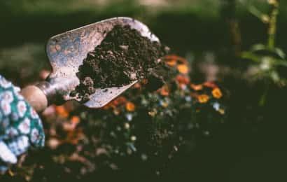 ガーデンの土とシャベル
