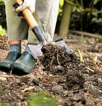 土をシャベルで掘り起こす
