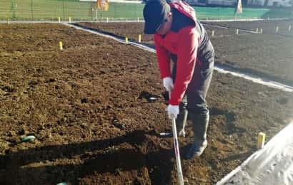 くわで土を耕す