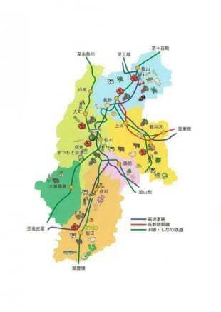 長野県の地域別作物のイラスト