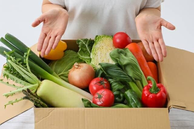 箱に詰められた野菜