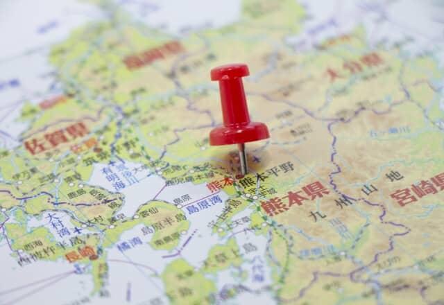 ピンが刺さった熊本県の地図