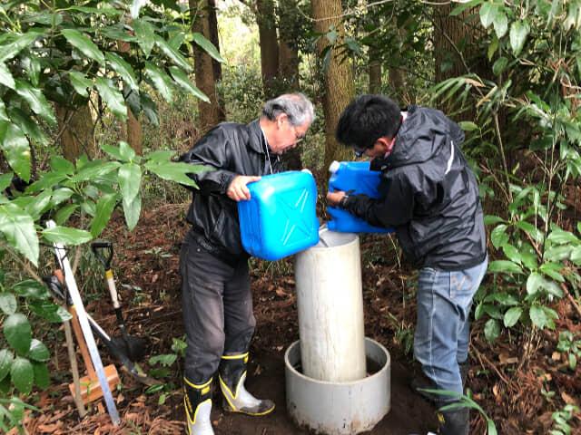 森林内の土壌調査