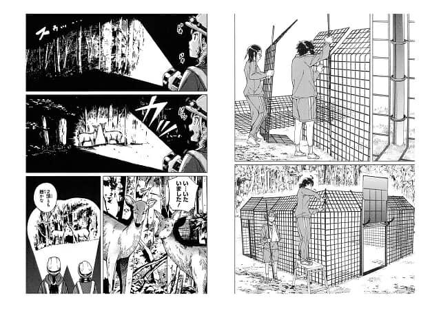 左:昼夜を問わず出没するシカの群れの規模を測るため、夜間にライトセンサス調査を実施することに。 右:今回の罠具は「囲い罠」。みんなで協力して組み立てます。ICT技術による遠隔操作機能付きです。