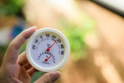 温度計を持つ手