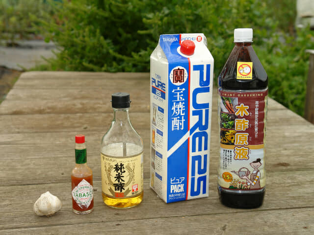 木酢液、焼酎、酢、タバスコ、ニンニク