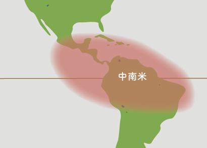 パキラ原産地地図