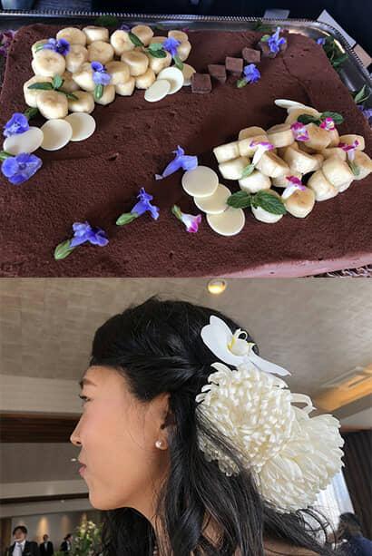 バナナのケーキと菊の髪飾り