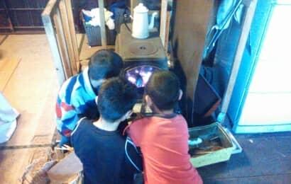 薪ストーブを見つめる男の子たち