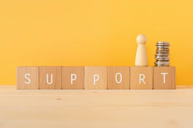 supportと書かれた積木