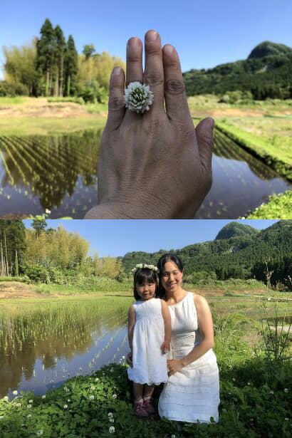 結婚記念日の指輪と女性と子供