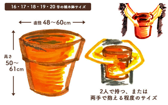 16・17・18・19・20号の植木鉢のサイズ