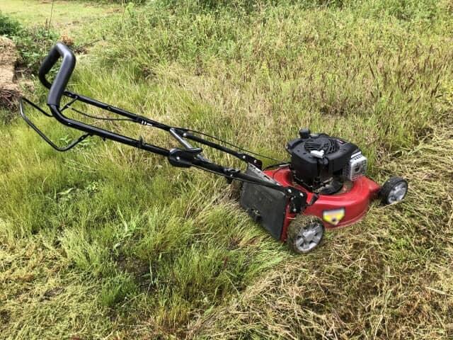 草刈機で雑草を刈る