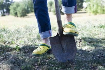 スコップで土を掘る様子