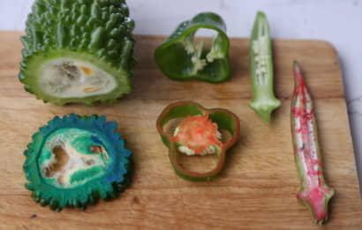 野菜スタンプを使った後